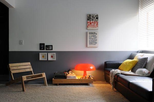 Покраска стен в два и более цветов