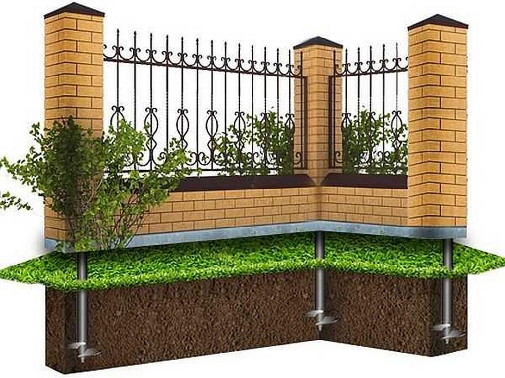 Кирпичный забор на свайном основании