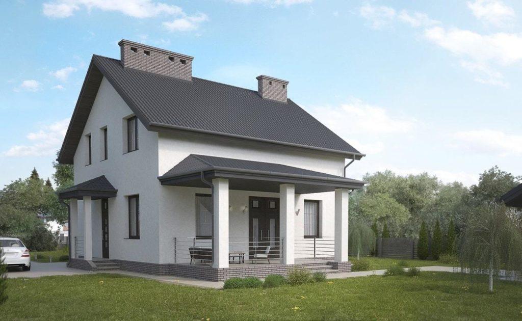 Дом из блоков оштукатуренный и покрашенный