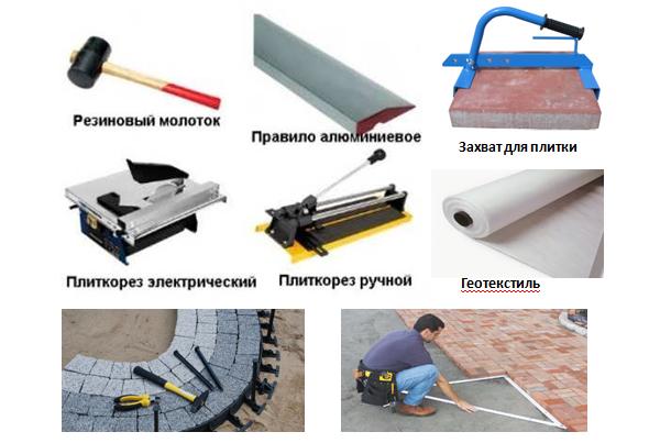 Тротуарная плитка. Инструменты для укладки плитки